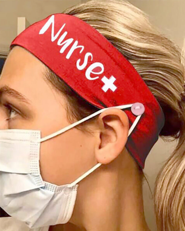 Button Wide Headband Elastic Facemask Holder