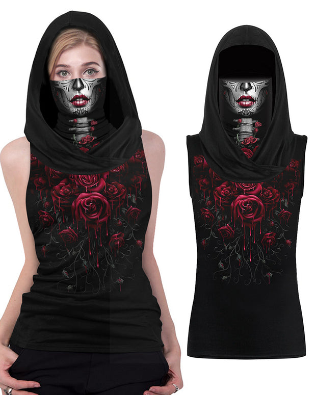 Ghost Print Hooded Tank Top With Ear Loop Face Bandana