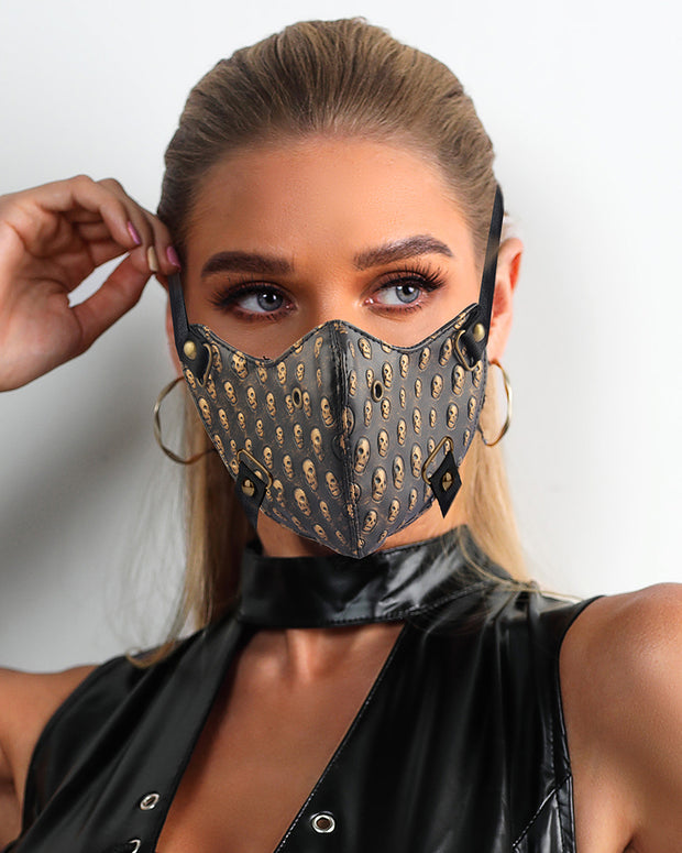 Skull Pattern Spike Skull Punk Leather Motorcycle Biker Face Mask