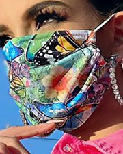 Butterfly Print Colorblock Breathable Mouth M .a. s. k Washable And Reusable