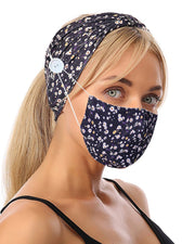 Button Wide Headband Elastic Facemask Holder With Mouth Mask