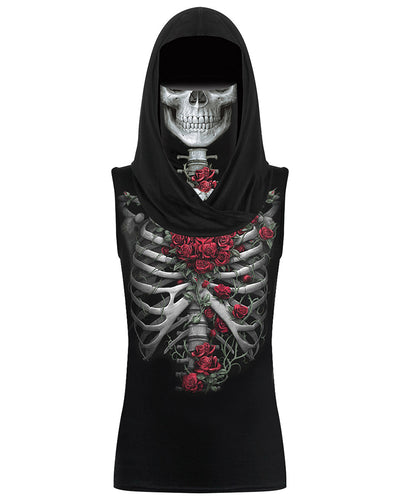 Skull&Rose Print Hooded Tank Top With Ear Loop Face Bandana