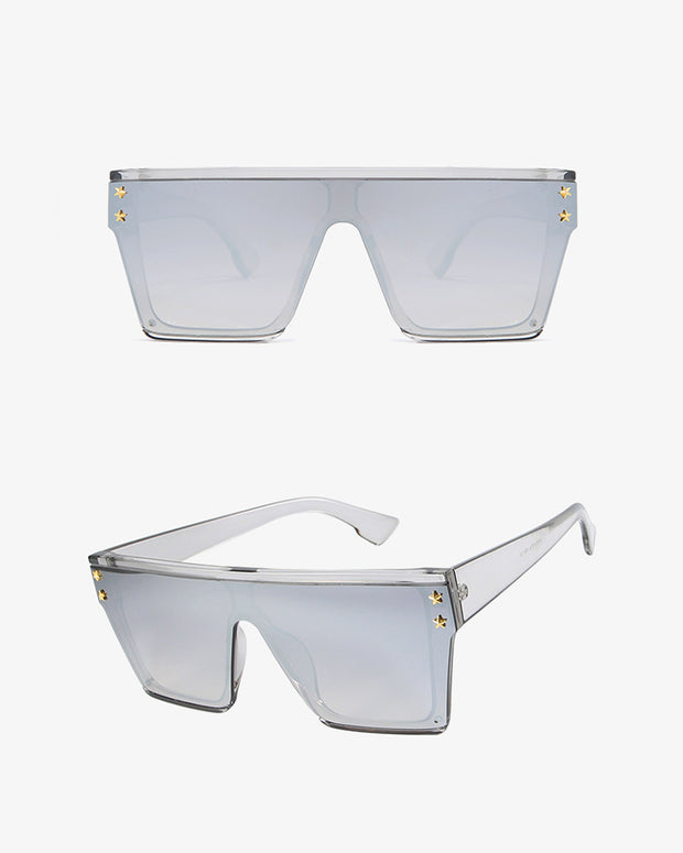 Star Pattern Big Square Frame Sunglasses