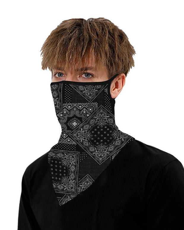 Print Breathable Ear Loop Face Cover Bandana Windproof Motorcycling Dust Outdoors