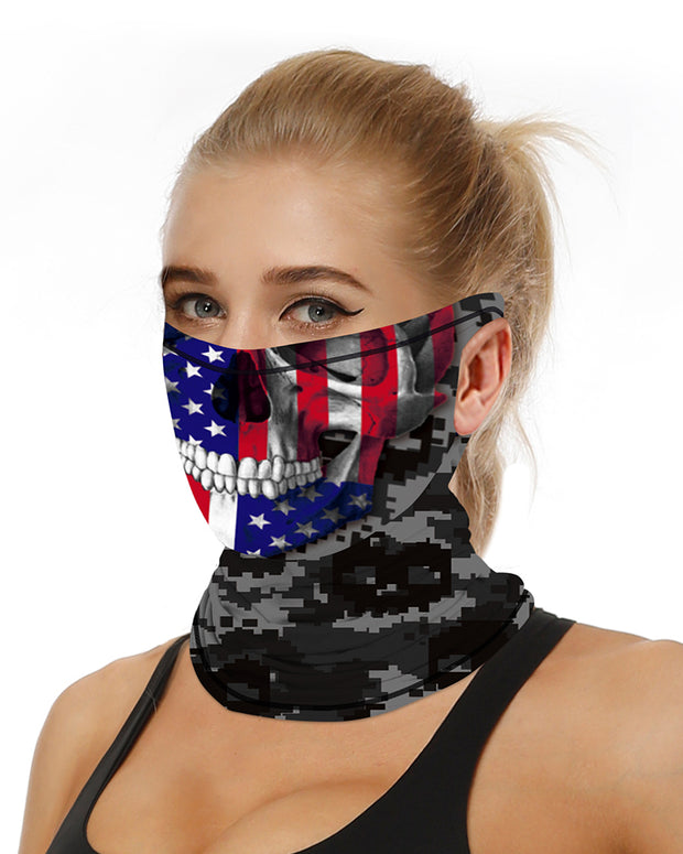 Skull Flag Print Breathable Ear Loop Face Bandana Headwrap