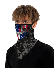 Skull Flag Print Breathable Ear Loop Face Cover Windproof Motorcycling Dust Outdoors Bandana