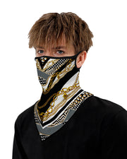 Chain Print Breathable Ear Loop Face Cover Windproof Bandana Outdoors
