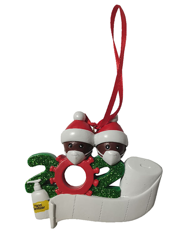 Christmas 2020 Family Member With Mask & Toilet Paper Ornament