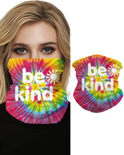 Tie Dye Grid Print Breathable Colorblock Face Bandana Magic Scarf Headwrap Balaclava