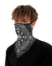 Skull Print Breathable Ear Loop Face Cover Windproof Bandana