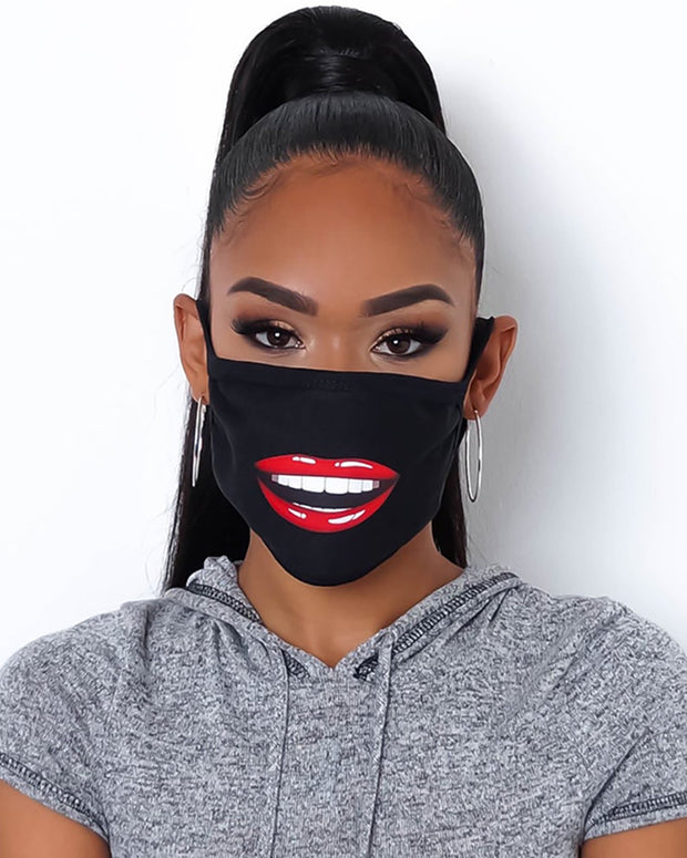 Lip Print Colorblock Breathable Mouth Mask