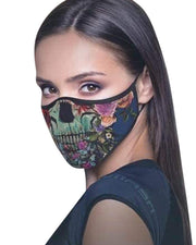 Skull / Floral / Camouflage Print Colorblock Breathable Face Mask