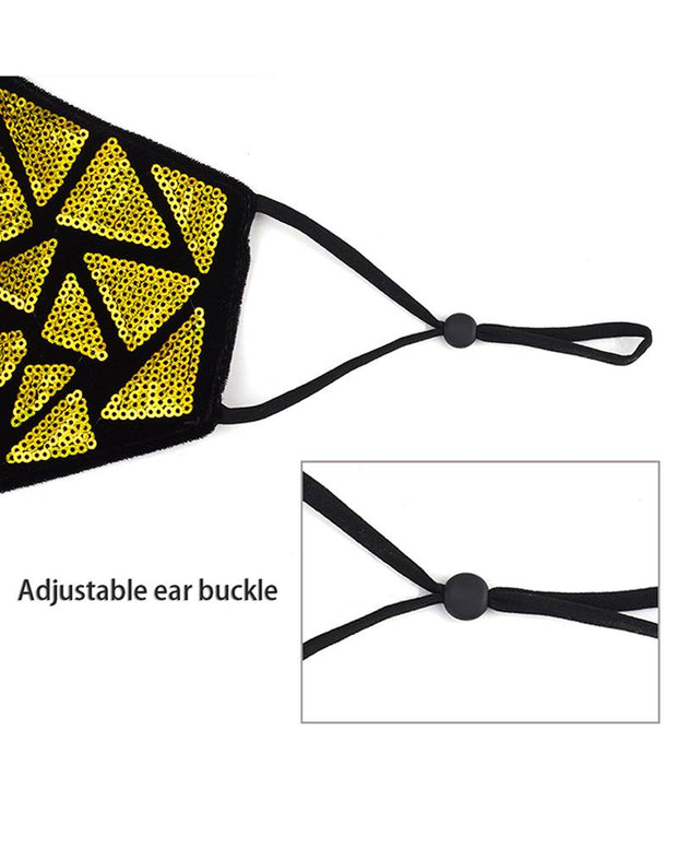 Sequins Geometry Pattern Colorblock Breathable Face Mask