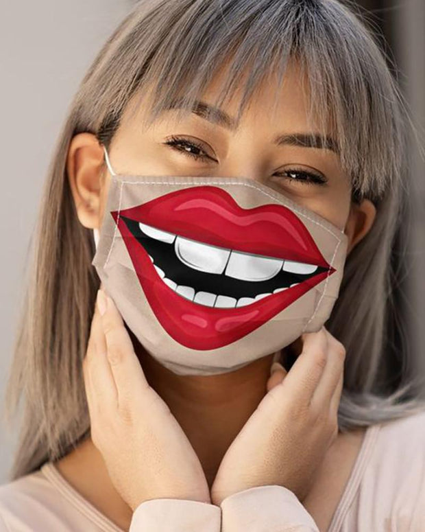 Lip Print Colorblock Breathable Face Mask
