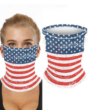 Striped Stars Print Breathable Ear Loop Face Bandana Headwrap