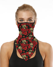 Skull Floral Print Breathable Ear Loop Face Cover Windproof Motorcycling Dust Outdoors Bandana