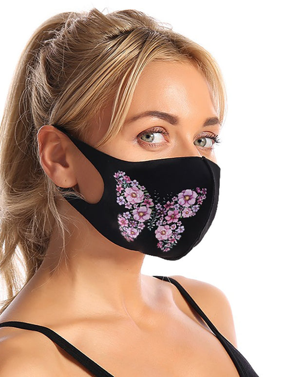 Butterfly Floral Print Breathable Face Mask