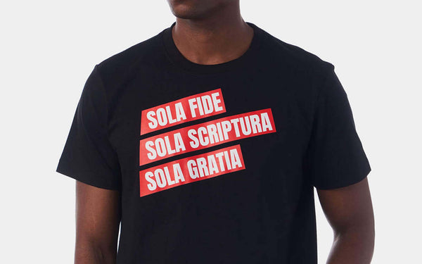 Christian t-shirt, printed with sola fide, sola scripture, sola gratia