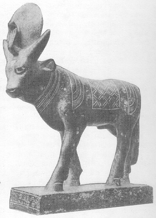 Bronze figure of a bull wearing a sun disk and a cobra (uraeus) on his head
