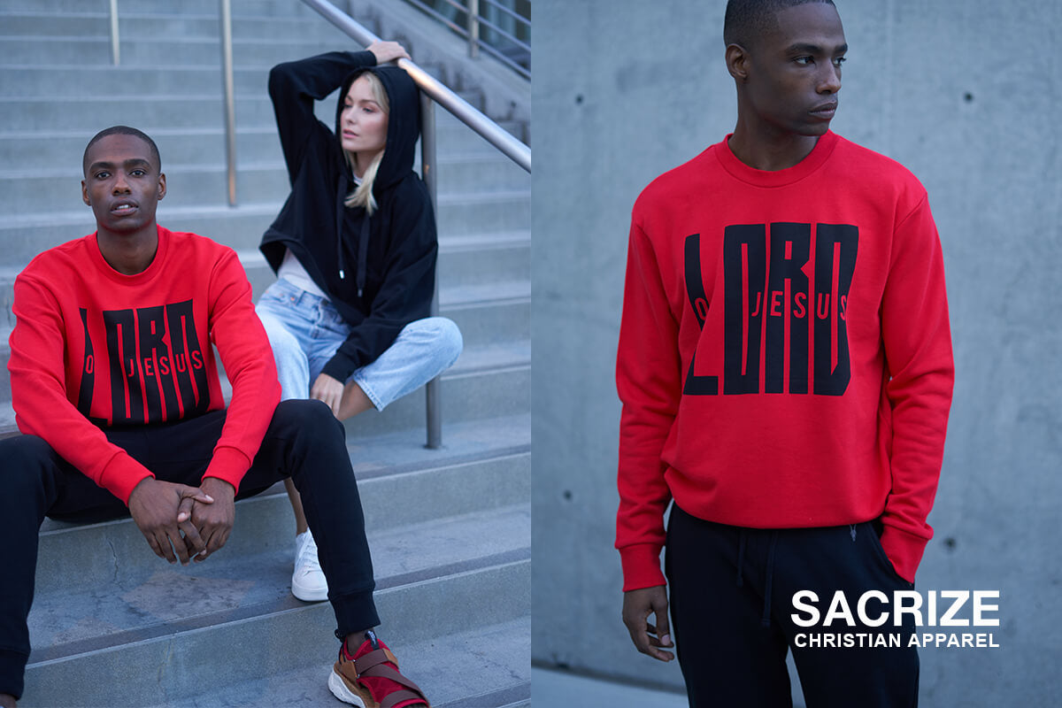 Two individuals, wearing red Christian sweatshirt and black Christian hoodie