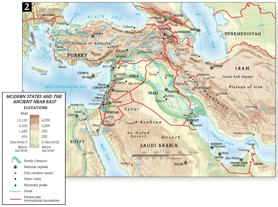 Map modern states and the Ancient Near East