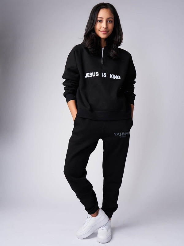 Jesus Is King Mockneck Half Zip Sweatshirt