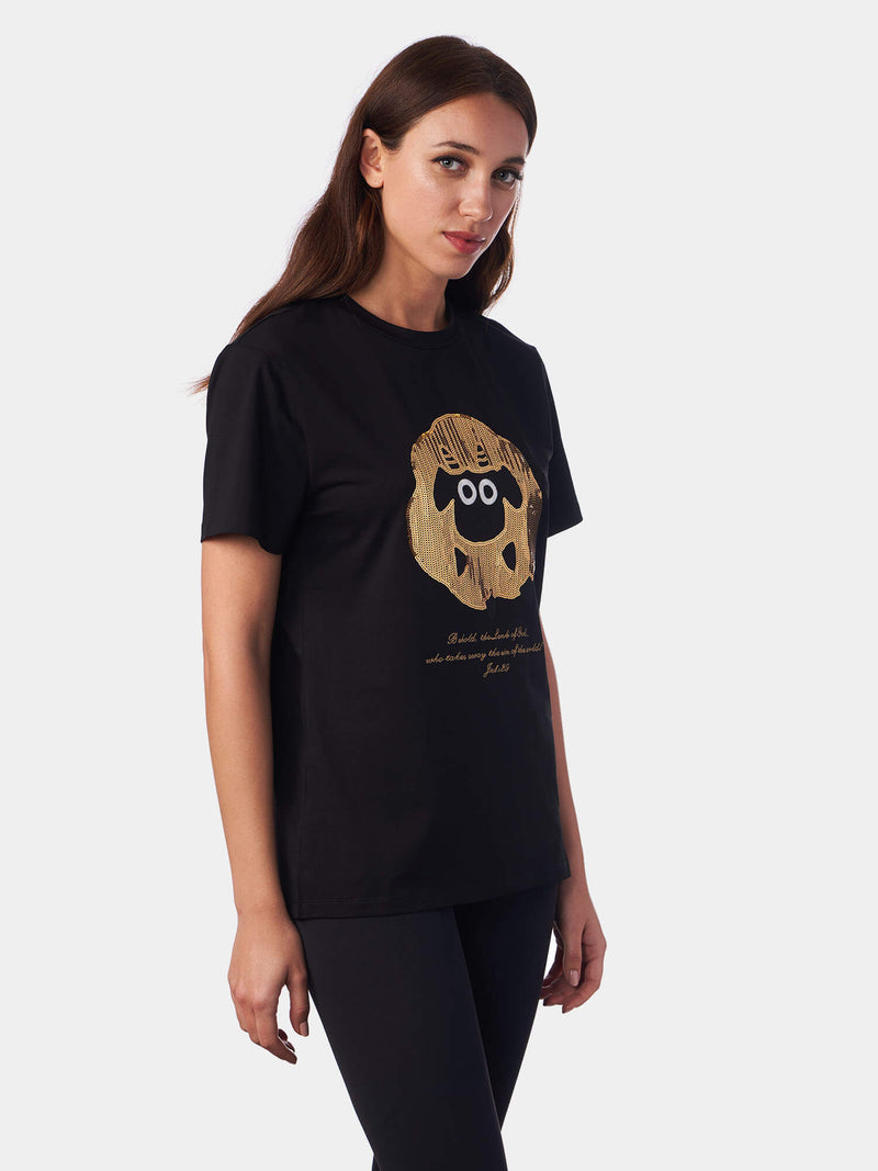 Jesus The Lamb of God Sequined Black Christian T-Shirt | SACRIZE