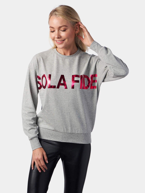 Sola Fide Justification by Faith Alone Grey Christian Sweatshirt | SACRIZE