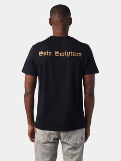 Sola Scriptura By Scripture Alone Embroidered Black Christian T-Shirt | SACRIZE