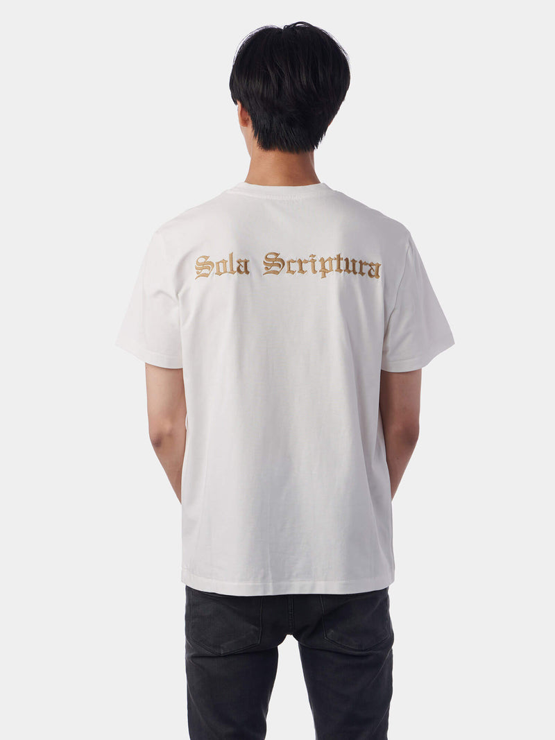 Sola Scriptura By Scripture Alone Embroidered White Christian T-Shirt | SACRIZE