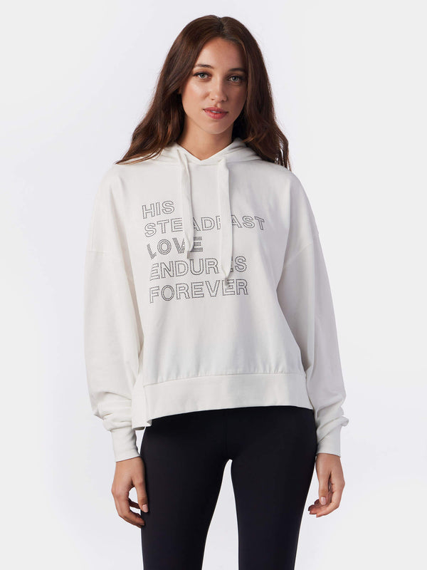 Steadfast Love Silver Rhinestones White Christian Hoodie | SACRIZE