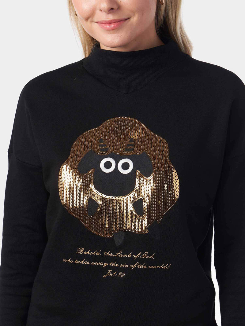 The Lamb of God Sequined High Neck Black Christian Sweatshirt | SACRIZE
