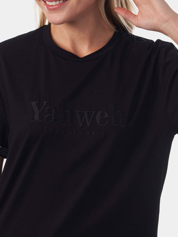 Yahweh Embroidered Rhinestone Christian T-Shirt | SACRIZE