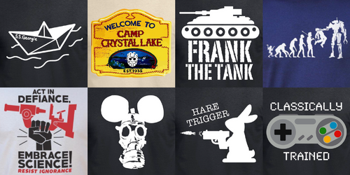 Multiple t-shirt designs compared to one another.