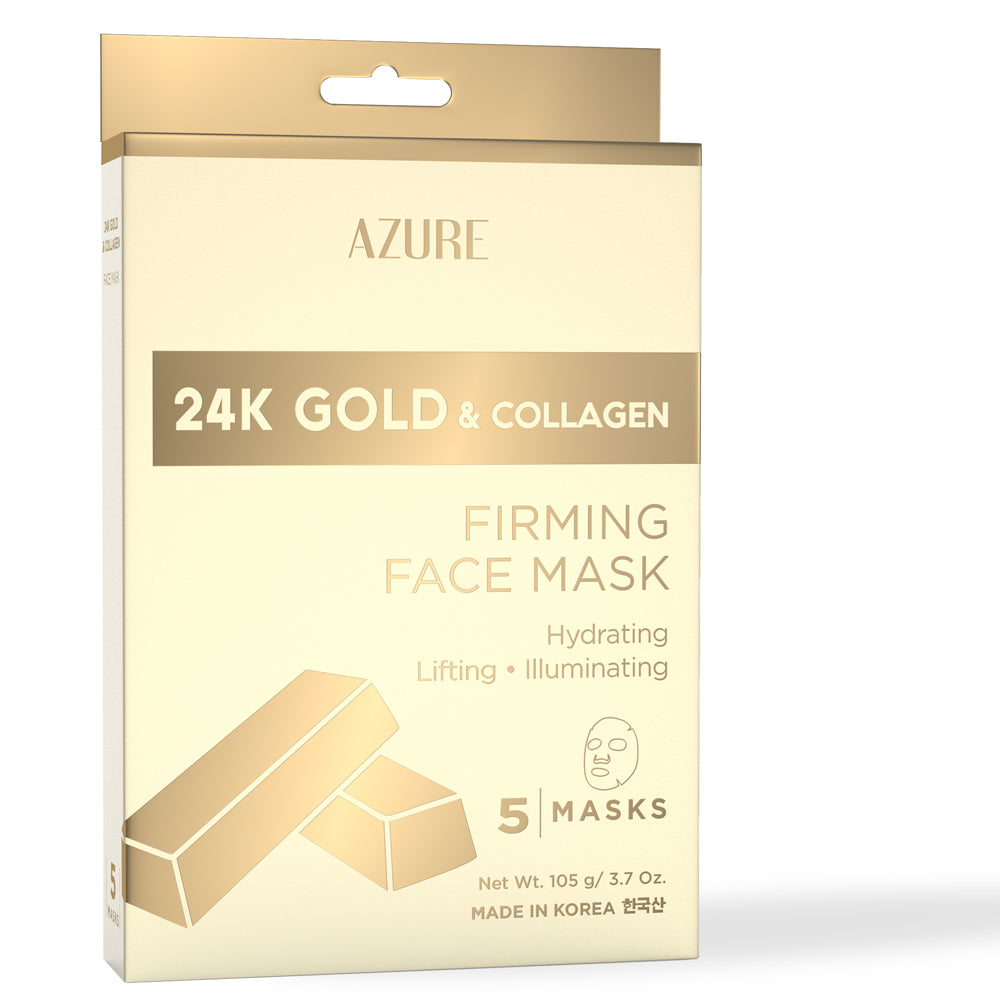 24K Gold & Collagen Firming Sheet Face Mask: 5 Pack