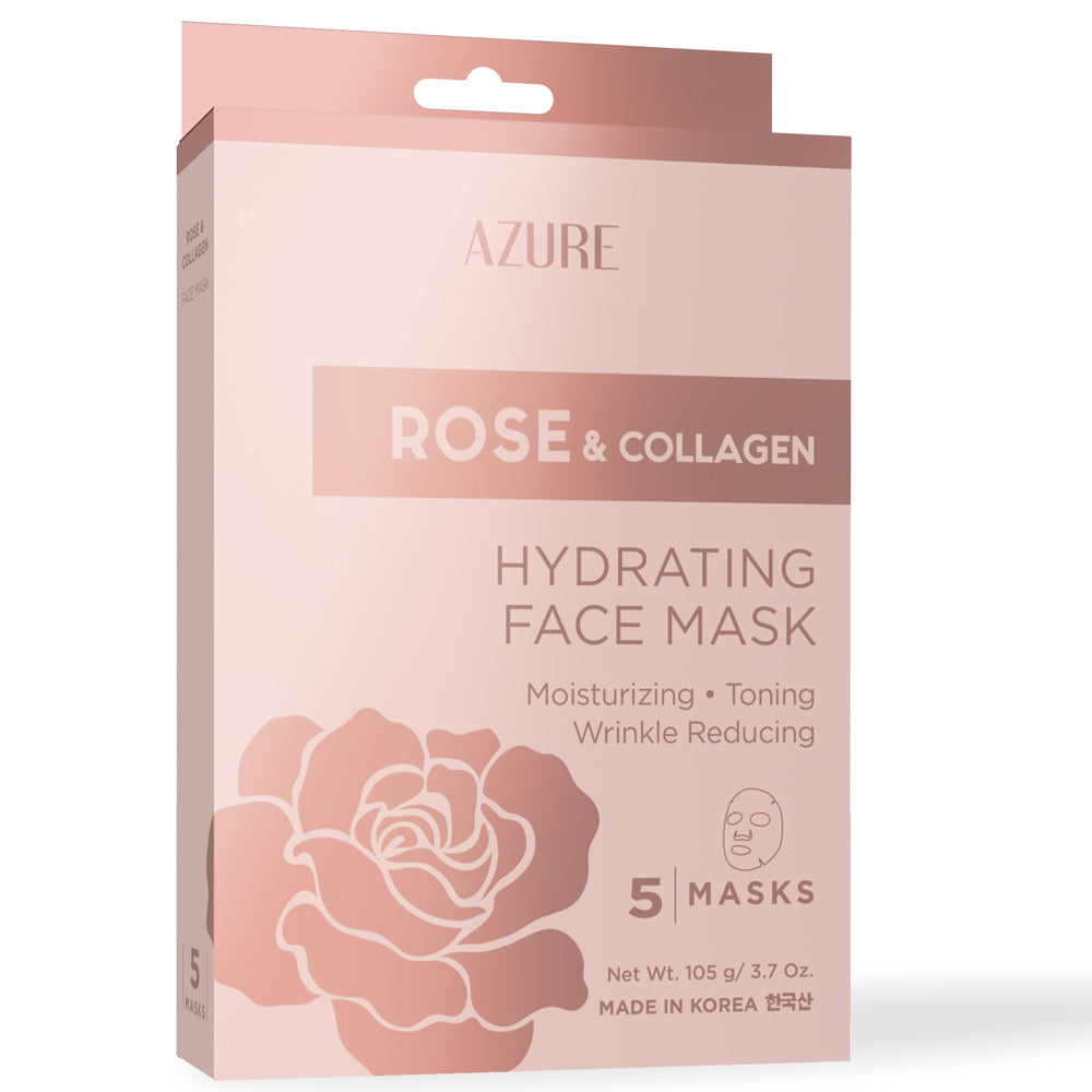 Rose & Collagen Hydrating Sheet Face Mask: 5 Pack