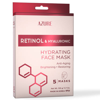 Retinol & Hyaluronic Hydrating Sheet Face Mask: 5 Pack