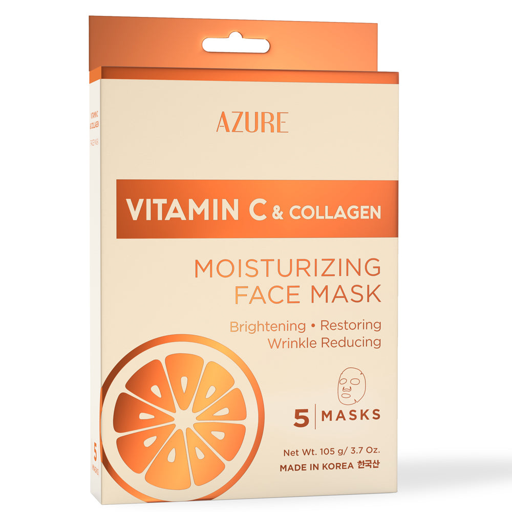 Vitamin C & Collagen Moisturizing Sheet Face Mask: 5 Pack