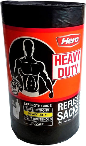 HERO Heavy Duty Refuse Sack 100L x 50 Bags Black