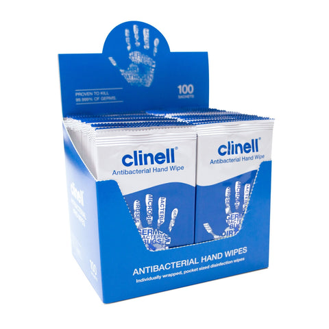 Clinell Antibacterial Hand Wipes Suitable for Hands and Surfaces - Pack of 100 Wipes