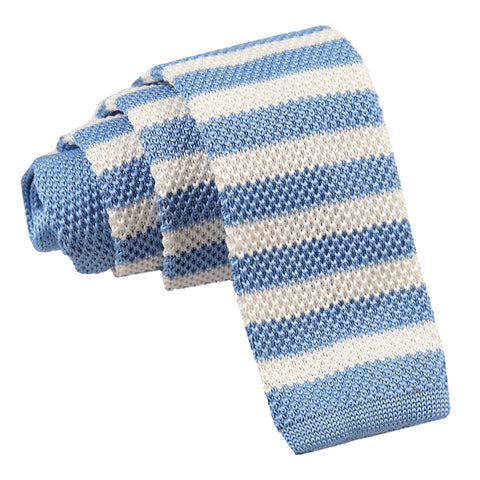 Knitted Striped Skinny Tie - Pale Blue & White
