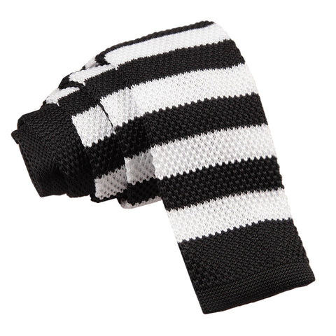 Knitted Striped Skinny Tie - Black & White