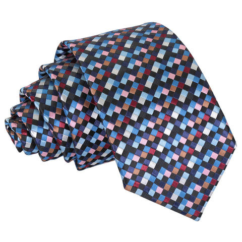 Chequered Geometric Slim Tie - Black with Blue