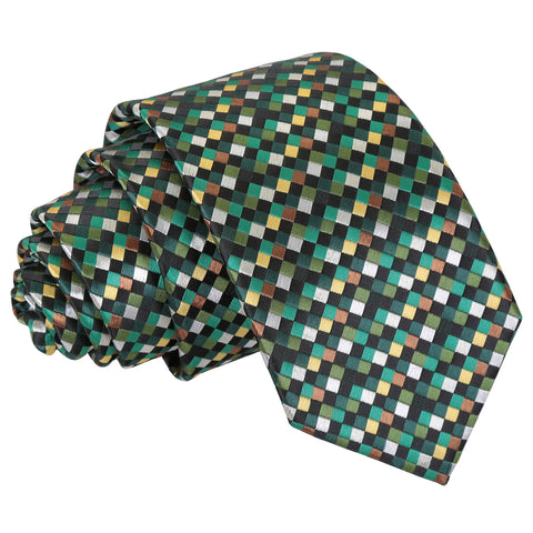 Chequered Geometric Slim Tie - Green with Gold
