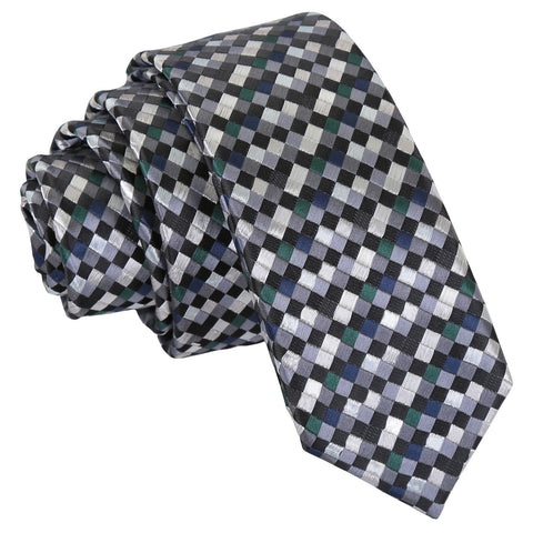 Chequered Geometric Skinny Tie - Silver with Black