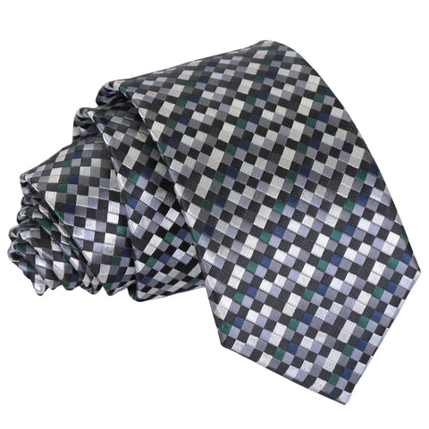 Chequered Geometric Slim Tie - Silver with Black