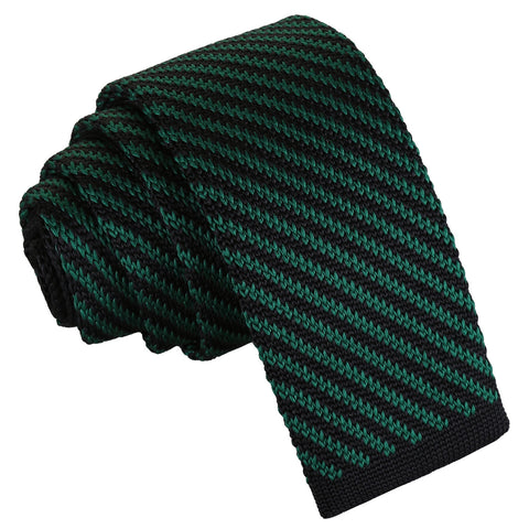 Diagonal Stripe Knitted Skinny Tie - Black & Green