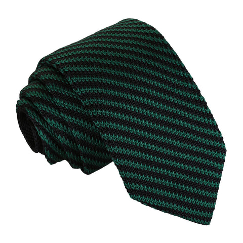 Diagonal Stripe Knitted Slim Tie - Black & Green