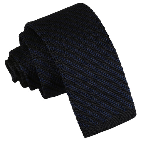Diagonal Stripe Knitted Skinny Tie - Black & Navy