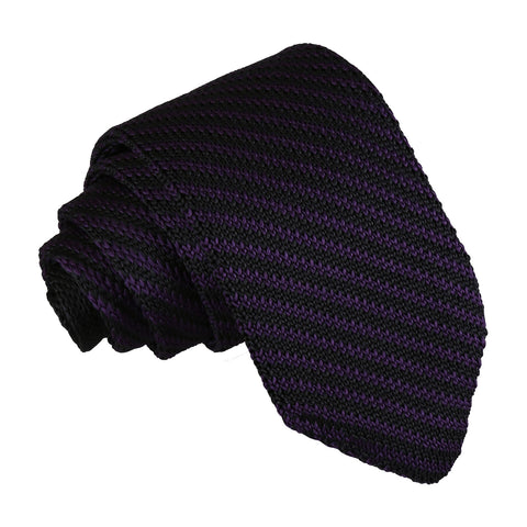 Diagonal Stripe Knitted Slim Tie - Black & Purple